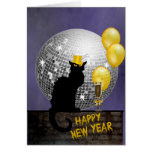 Chat Noir New Year Eve Greeting Card