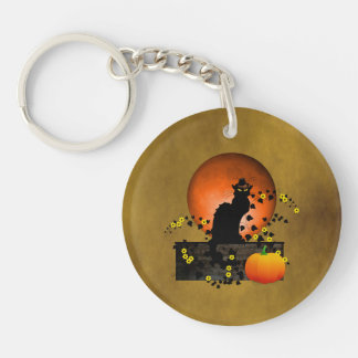 Chat Noir Thanksgiving Double-Sided Round Acrylic Key Ring