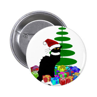 Chat Noir With Christmas Tree and Gifts 6 Cm Round Badge
