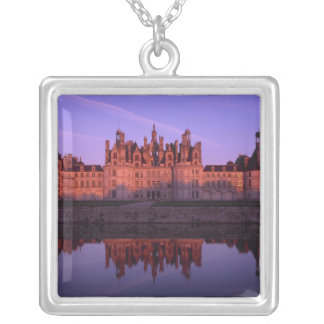 Chateau Chambord at sunset, Loire Valley, France Silver Plated Necklace