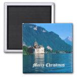 Chateau Chinon, beside Lake Geneva 2 Square Magnet