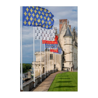 Chateau d'Amboise and flag, France Acrylic Print