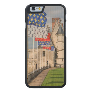 Chateau d'Amboise and flag, France Carved® Maple iPhone 6 Slim Case
