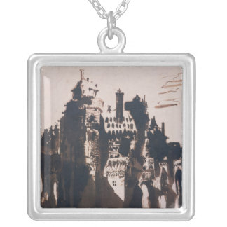 Chateau fortified by two Bridges Silver Plated Necklace