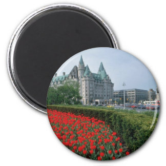 Chateau Laurier Hotel, Ottawa flowers 6 Cm Round Magnet