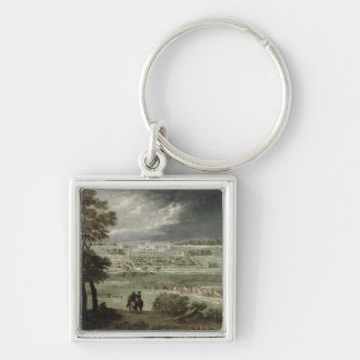 Chateau-Neuf de St. Germain-en-Laye in 1655 Silver-Colored Square Key Ring
