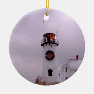 Chatham Lighthouse in the Snow Christmas Ornament