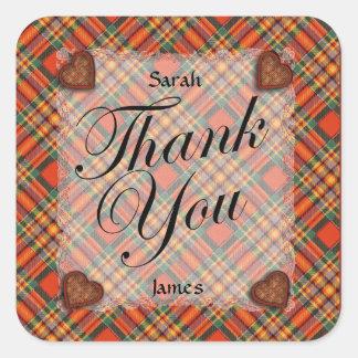 Chattan Scottish clan tartan - Plaid Square Sticker