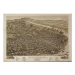 Chattanooga Tennessee 1886 Antique Panoramic Map