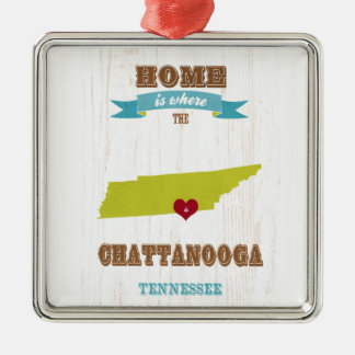 Chattanooga, Tennessee Map – Home Is Where Christmas Ornament