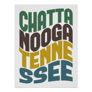 Chattanooga Tennessee Retro Wave Poster