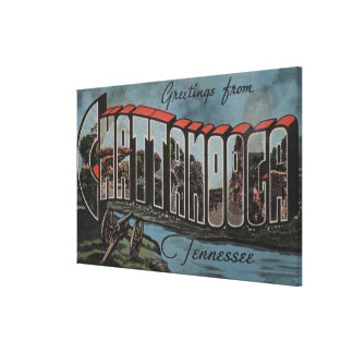 Chattanooga, Tennessee (River Scene) Gallery Wrapped Canvas