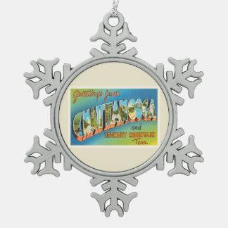 Chattanooga Tennessee TN Vintage Travel Souvenir Snowflake Pewter Christmas Ornament
