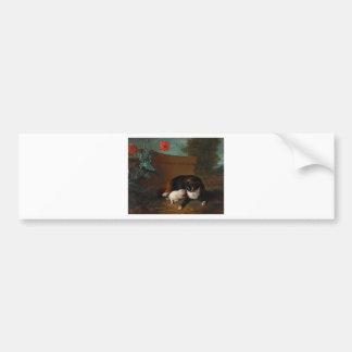 Chatte et chaton, et Chien et perroque Bumper Sticker