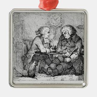 Chatting, illustration Silver-Colored square decoration