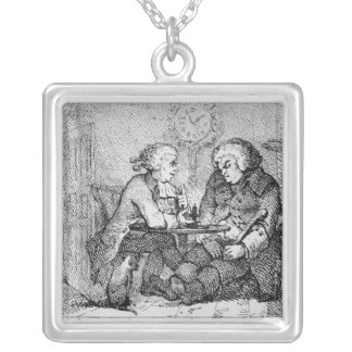Chatting, illustration silver plated necklace