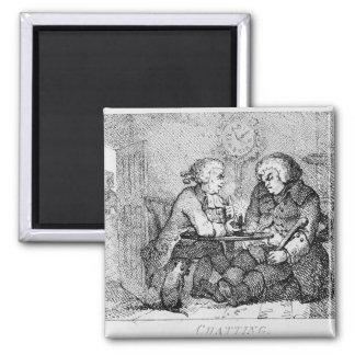 Chatting, illustration square magnet