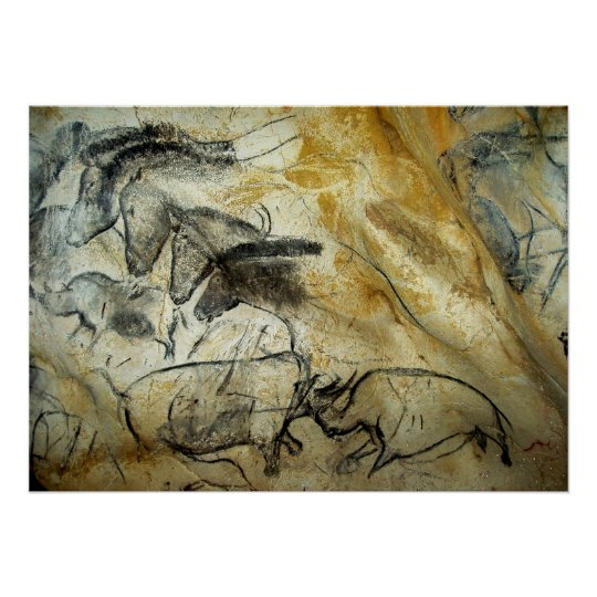 Chauvet Cave Horses and other Wildlife Painting Poster