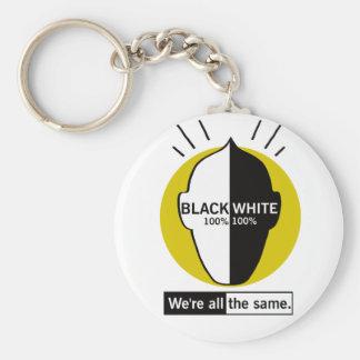 Chaveiro Black white 100% Basic Round Button Key Ring