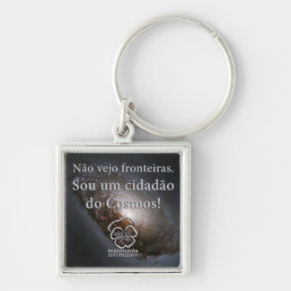 Chaveiro I am a citizen of the Cosmos Silver-Colored Square Key Ring