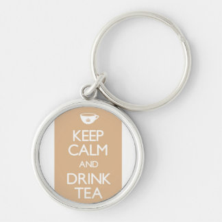 Chaveiro keep calm drink tea salmon Silver-Colored round key ring