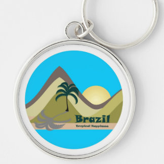 Chaveiro Tropical Brazil Hapiness Silver-Colored Round Key Ring