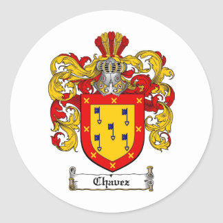 CHAVEZ FAMILY CREST -  CHAVEZ COAT OF ARMS ROUND STICKER