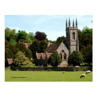 Chawton Hampshire - Sheep beside Church Postcard