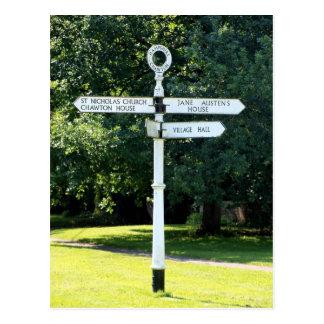 Chawton Signpost Hampshire Postcard