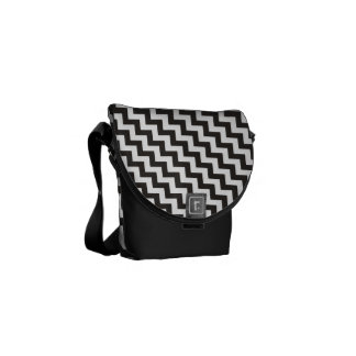 Chc Black and White Diagonal Chevrons Commuter Bags