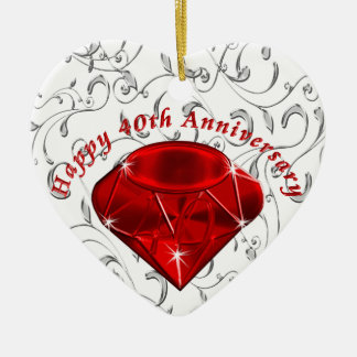Cheap 40th Anniversary Gifts, Ruby design Ceramic Heart Decoration