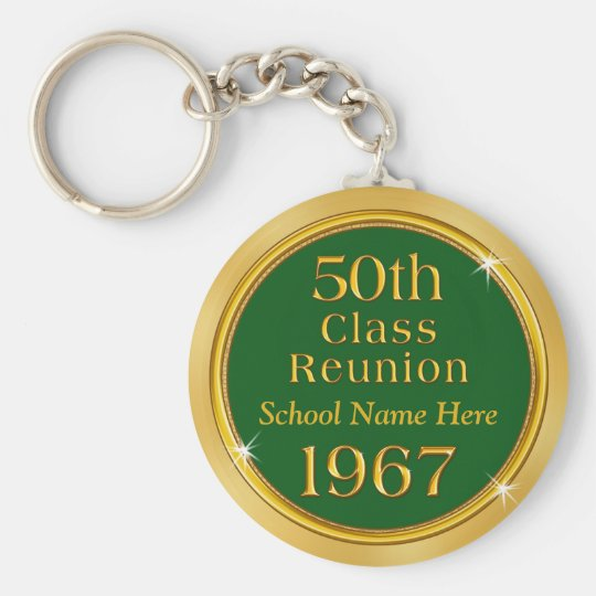 Cheap 50th Class Reunion Keychains, School Name Key
