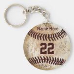 Cheap Baseball Keychains NAME, NUMBER for TEAM Basic Round Button Key Ring