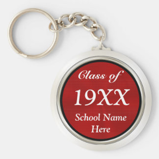 Cheap Class Reunion Gifts PERSONALIZED, Red, White Basic Round Button Key Ring