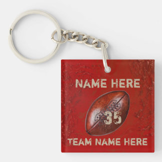Cheap Gifts for Football Players, Your TEXT, COLOR Double-Sided Square Acrylic Key Ring