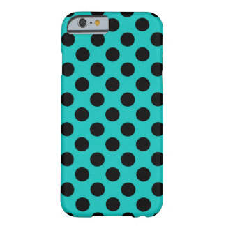 Cheap Modern Blue & Black Polka Dot Pattern Barely There iPhone 6 Case