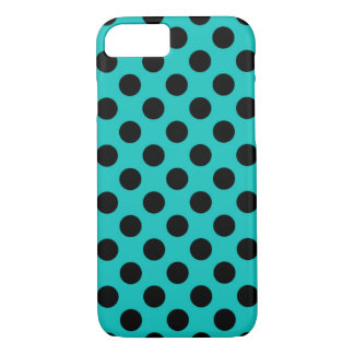 Cheap Modern Blue & Black Polka Dot Pattern iPhone 7 Case