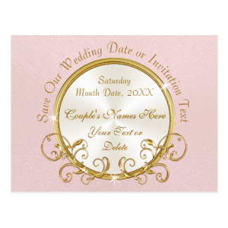 Cheap Personalized Blush Pink Save the Date Cards Postcard