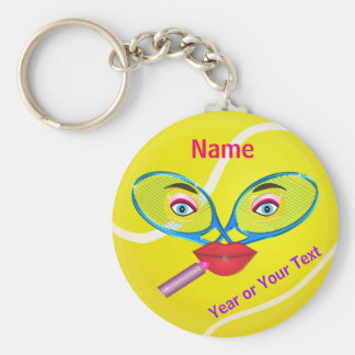 Cheap PERSONALIZED Tennis Keychains, Womens TEAM Basic Round Button Key Ring