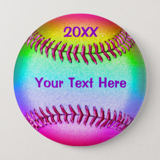Cheap Softball Gifts for Girls YOUR TEXT and YEAR 10 Cm Round Badge