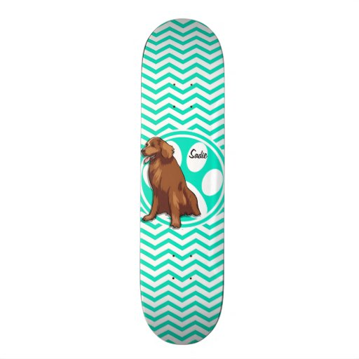 Cheapeake Bay Retriever; Aqua Green Chevron Skate Board Decks