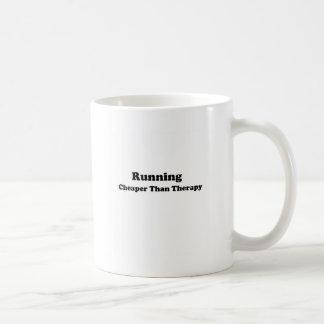 Cheaper than therapy black basic white mug