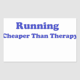 Cheaper than therapy blue rectangular sticker