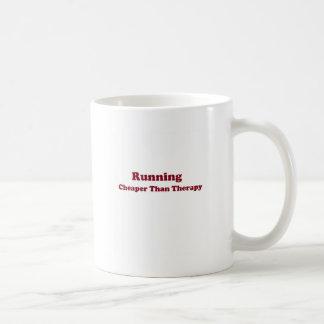 Cheaper than therapy burgandy basic white mug