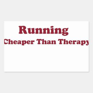 Cheaper than therapy burgandy rectangular sticker
