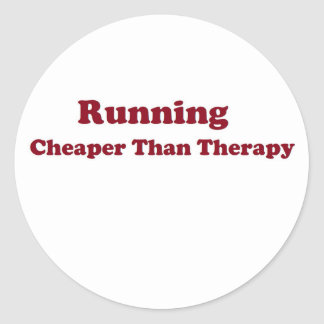 Cheaper than therapy burgandy round sticker