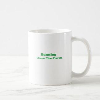 Cheaper than therapy green basic white mug