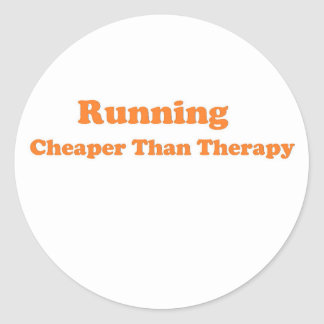 Cheaper than therapy orange round stickers