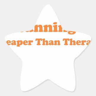 Cheaper than therapy orange star sticker