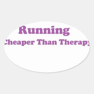 Cheaper than therapy purple oval sticker